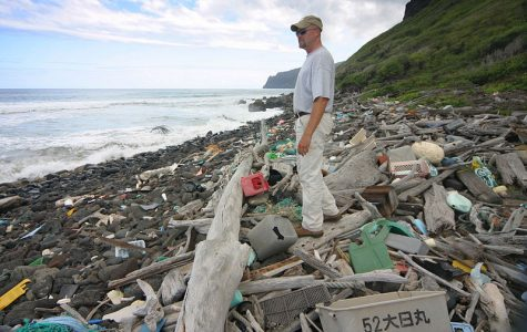 Photo showing oceangoing trash that accumulates on the windward (eastern) side of the Hawaiian Island of Niihau. Photo used under the Creative Commons License via Wikimedia.