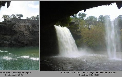 Comparison of drought conditions and flood conditions at Hamilton Pool. Image used under the Creative Commons License via Wikimedia Commons.